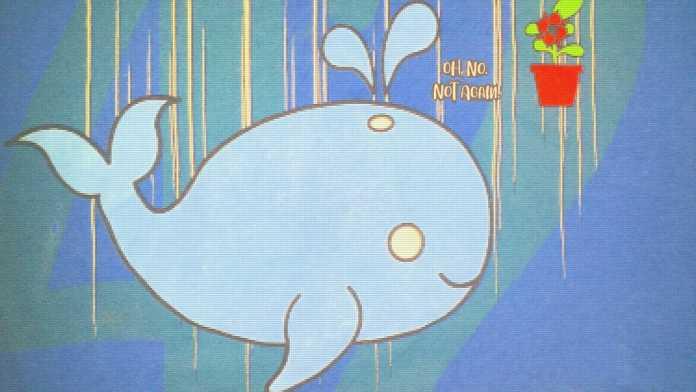 Darstellung des Wals und dem Petunientopf, die auf den Planeten hinabstürzen. Sie waren vorher zwei Raketen und wurden vom Unwahrscheinlichkeitsdrive entschärft. Während der Wal sich neugierig umherschaut, weiß der Blumentopf schon ganz genau, was ihnen blüht.