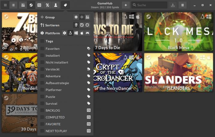 GameHub kann die verfügbaren Spiele nach Plattform filtern und zeigt so beispielsweise nur Linux-Spiele.
