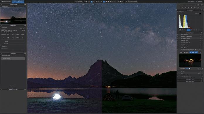 DxO DeepPrime reduziert Bildrauschen, retuschiert oder ergänzt aber keine Sterne.