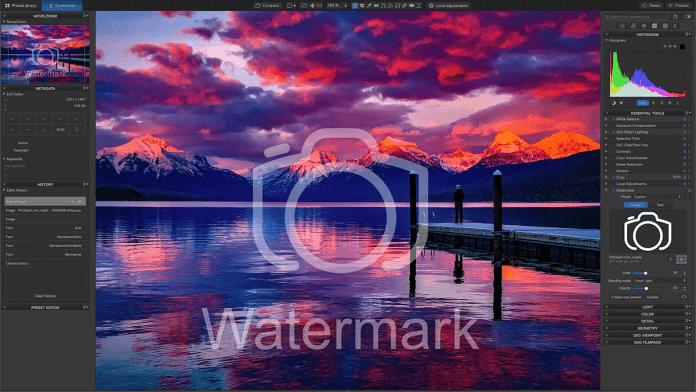 DxO PhotoLab 4 bindet Wasserzeichen ein und kopiert sie über sieben verschiedene Modi ins Bild.