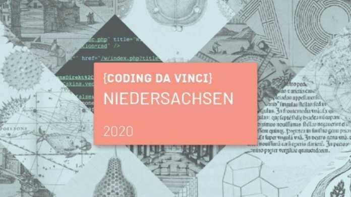 Logo auf rosa Hintergrund: CODING DA VINCI Niedersachsen 2020.