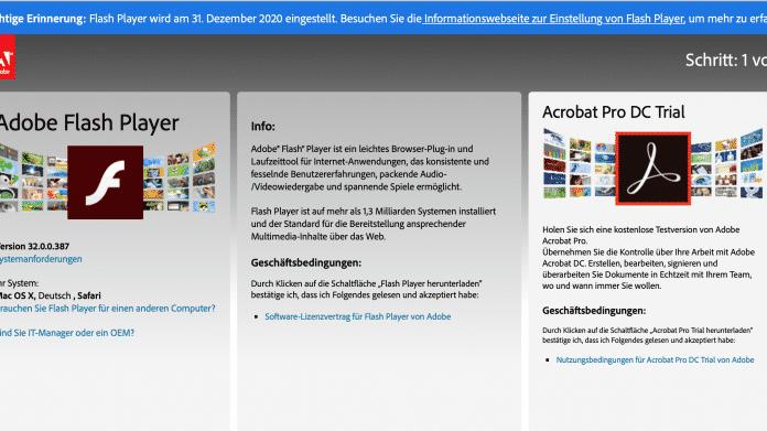 Adobe mahnt auf Download-Seite: Flash-Support bald zu Ende