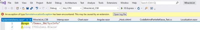 Ständiger Absturz der Eingabeunterstützung in einem Blazor WebAssembly-Projekt in Visual Studio 2019 v16.8 Preview 4