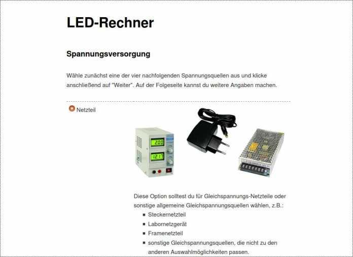 Das Tool stellt verschiedene Stromquellen zur Verfügung.