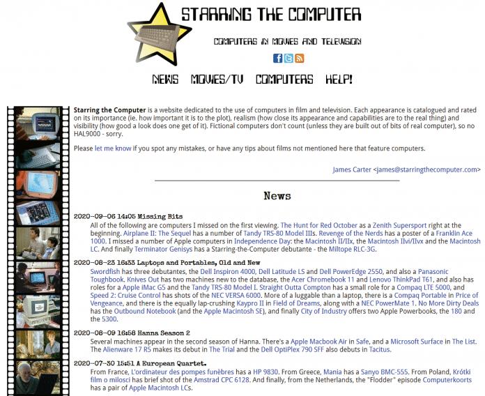 """Die Website """"Starring the Computer"""" listet sehr akribisch auf, wann welche Computer in welchen Filmen ihren Auftritt hatten."""