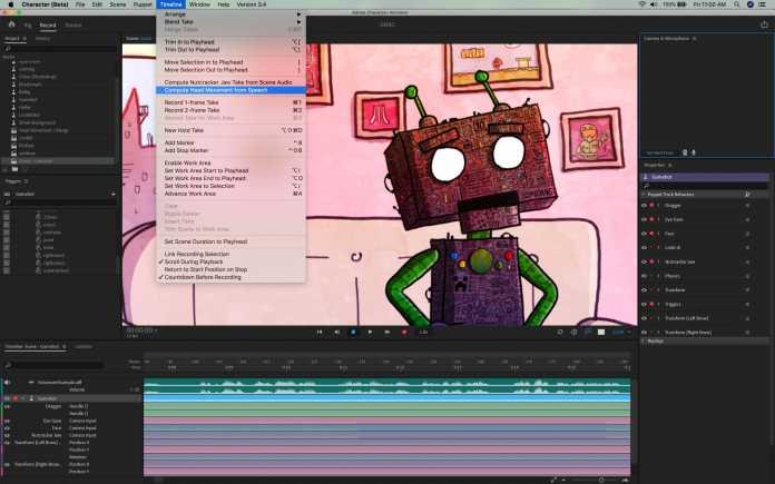 Character Animator animiert Körper und Mund von Figuren automatisch anhand einer Audiodatei.
