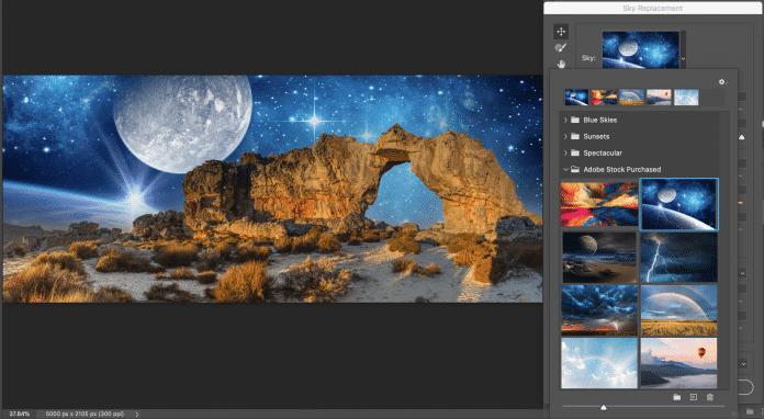 Der Photoshop-Dialog Sky Replacement passt automatisch die Licht- und Farbstimmung an den ausgetauschten Himmel an.