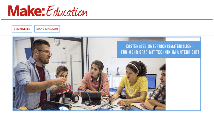 Screenshot der Startseite Make Education.