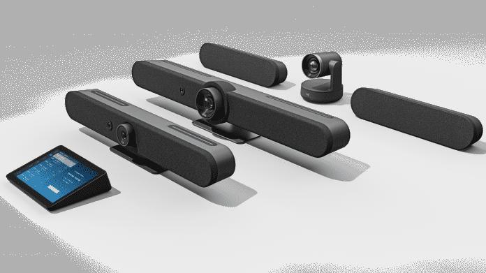 2 Lautsprecher, 2 Soundbards mit Kameras, 2 Lautsprecher, 2 Display, alle in dunkelgrau