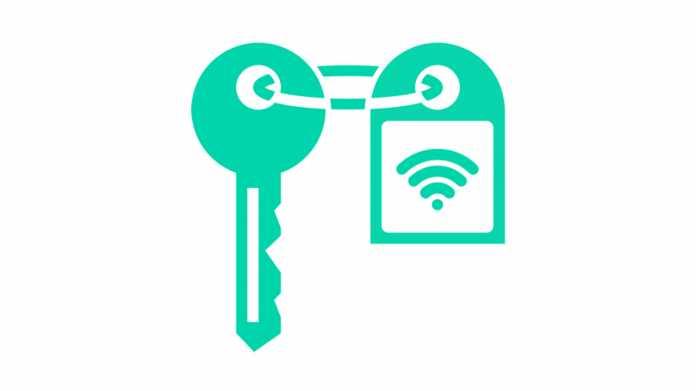 Grünes Logo: Schlüssel mit Anhänger, darauf ein WLAN-Logo.