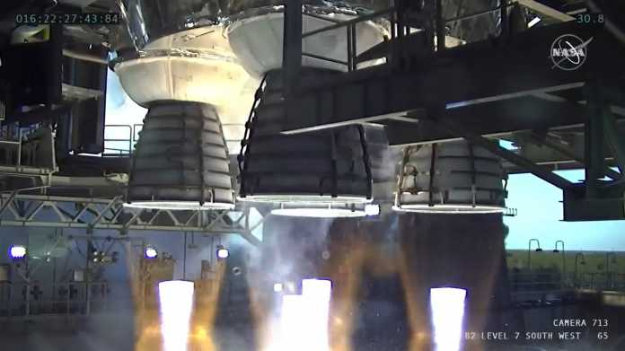 The four RS-25 engines fired for a little more than one minute and generated 1.6 million pounds of thrust.