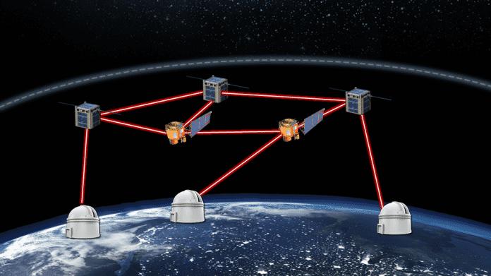 Zeichnung zeigt 5 Satelliten mit Laserlinks und Verbindungen zur drei Bodenstationen