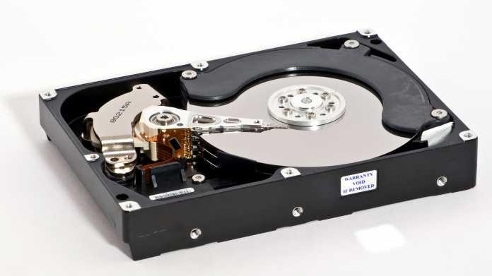 Ferromagnetische Festplatte, geöffnet