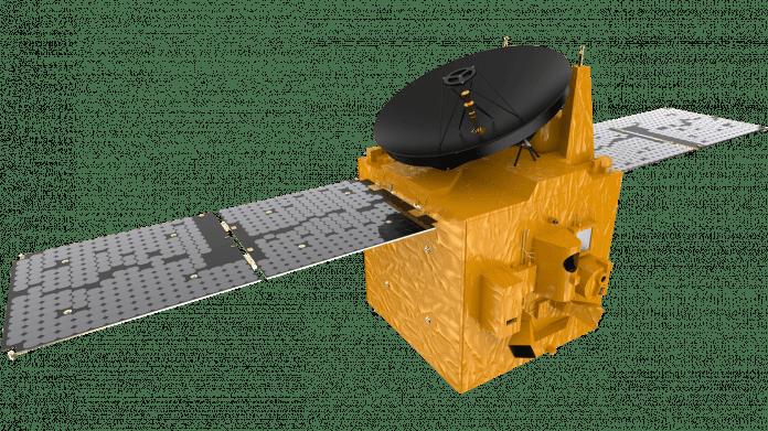 Gemalter Satellit mit ausgefalteten Solarzellen