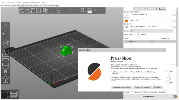 Prusa Slicer 2.3 Screenshot