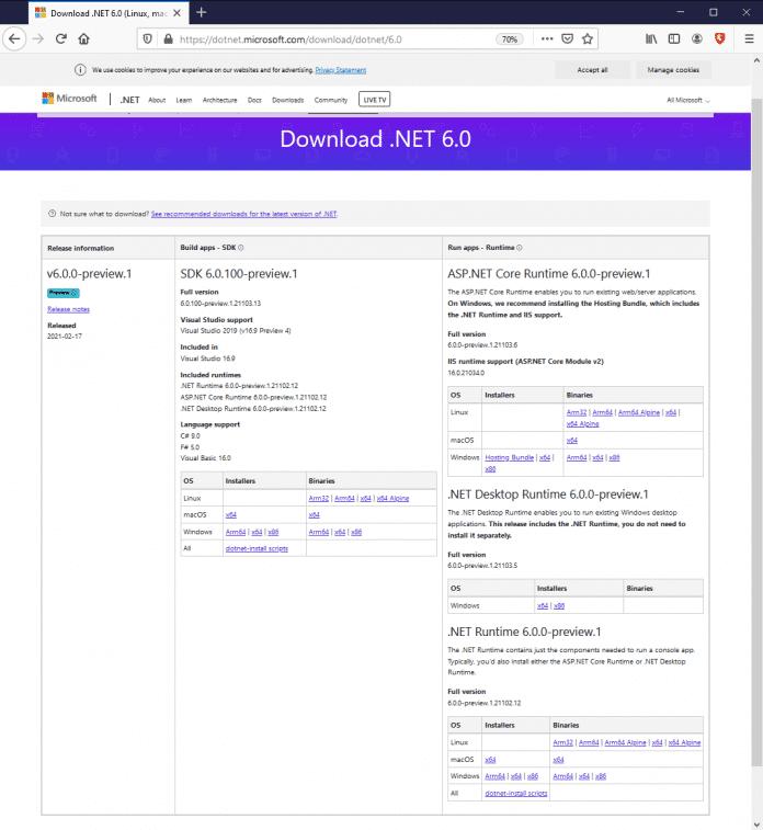 .NET-6-Downloadseite