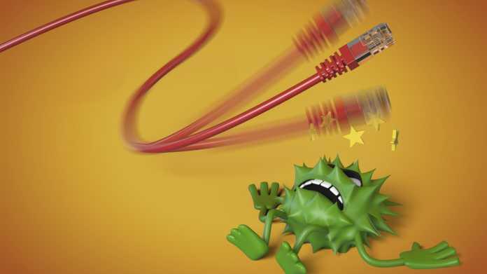 """Netzwerkkabel, daneben ein grünes """"Virus-Männchen"""""""