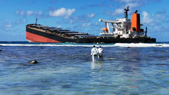 MV Wakashio nahe eines Strandes, im Vordergrund zwei Arbeiter in Schutzanzügen