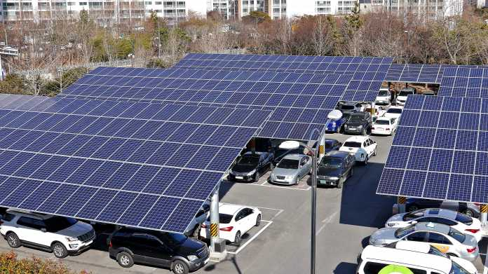 Solar,Panel,Installed,In,Parking,Lot