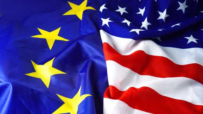 Usa,Flag,Vs,Europe,Flag.,Eu,Flag,And,American,Flag