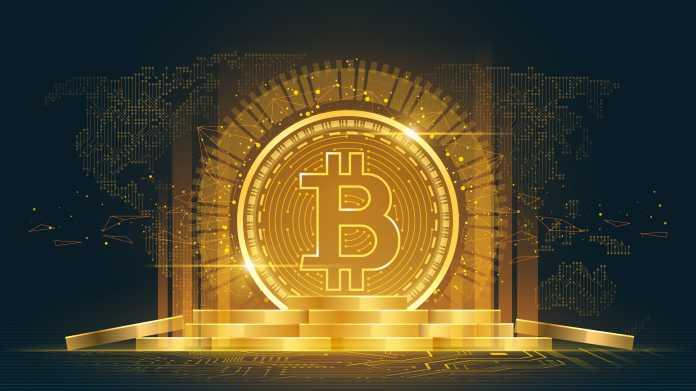 Gold leuchtende Bitcoin-Münze