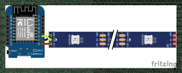 Diagramm zum Anschluss eines LED-Streifens an einen Wemos-Mikrocontroller.