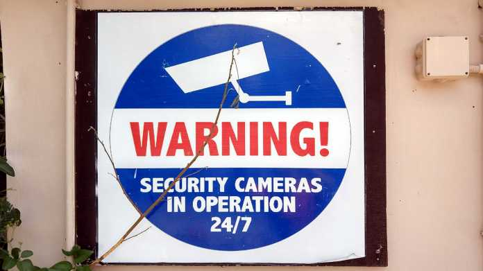 "Schild ""Warning! Security Cameras in Operation 24/7"""