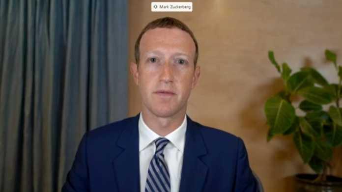 Mark Zuckerberg in Anzug, dahinter Topfpflanze