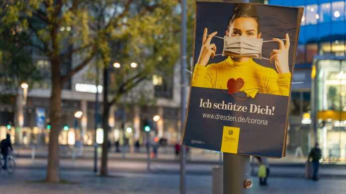 Maskenempfehlung in Dresdens Innenstadt