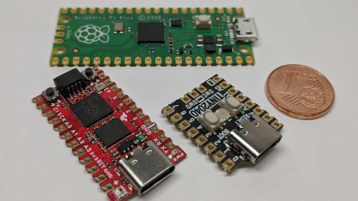 Pico, TINY2040 und Sparkfun Pro Micro mit 1ct Münze