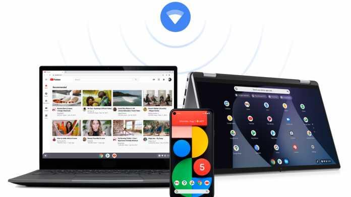 Zwei Chromebooks und ein Android-Handy