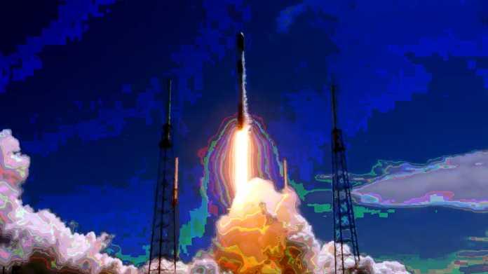 Künsterlisch bearbeites Bild eines Falcon-9-Starts