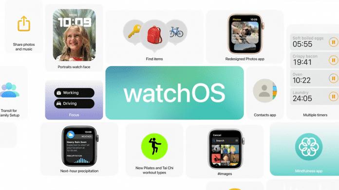 """Präsentationsfolie mit vielen Icons und Bildchen, in der Mitte steht """"watchOS"""""""