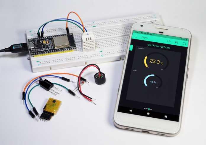 Aufmacher, ESP32 und Handy per IoT