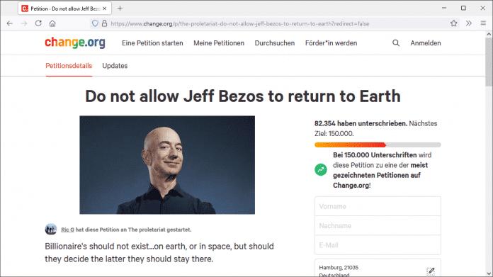 "Screenshot der Petitionswebpage ""Do not allow Jeff Bezos to return to Earth"" mit Foto Bezos'"