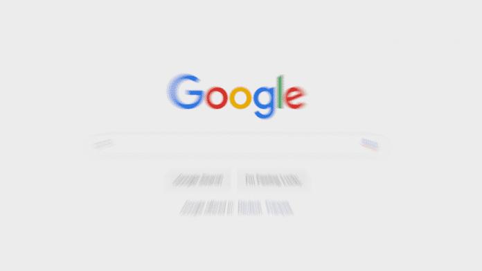 Eingabemaske der Google Suchmaschine, künsterlisch verzerrt