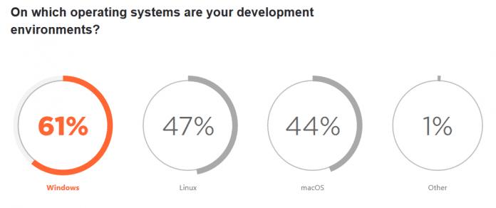 State of the Developer Ecosystem 2021: Meistverwendete Betriebssysteme