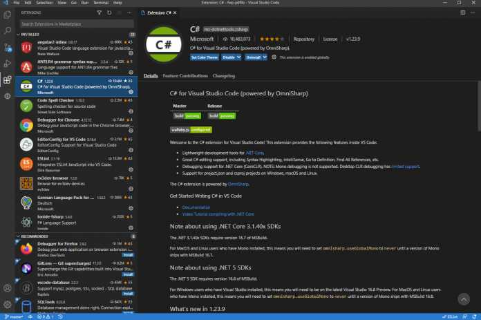 Der Extension-Manager in VS Code (Abb. 1)