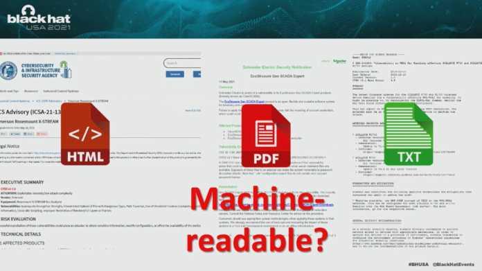 """Screenshot zeigt drei grundverschieden gestaltete Security Advisories (HTML, PDF, TXT), darüber ist die rhetorische Frage """"machine readable?"""" eingeblendet."""