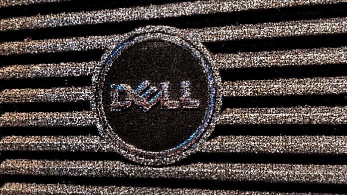 Dell-Logo auf Computertower, verfremdet und gülden