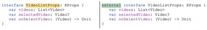 Das Kotlin/JS Inspection Pack schlägt die Umwandlung von JavaScript-Klassen in externe Interfaces vor.