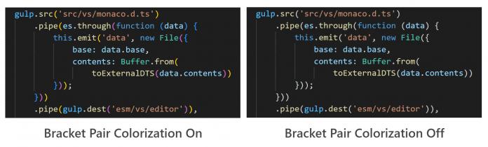 Visual Studio Code 1.60 führt Syntax-Highlighting für Klammern ein.
