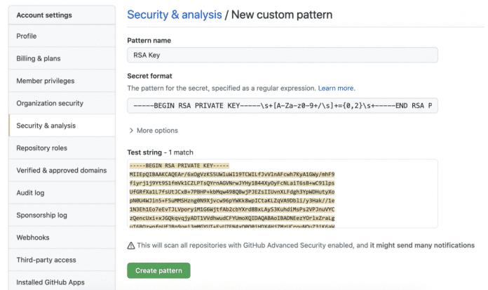 Im GitHub Enterprise Server 3.2 Release Candidate lassen sich eigene Patterns für das Secret Scanning anlegen.