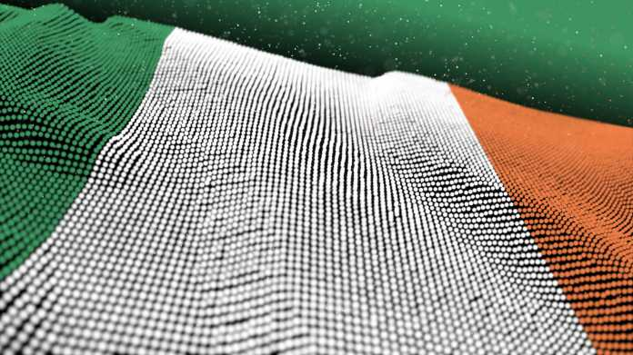 3d,Illustration,Abstract,Glowing,Particle,Wavy,Surface,With,Ireland,Flag