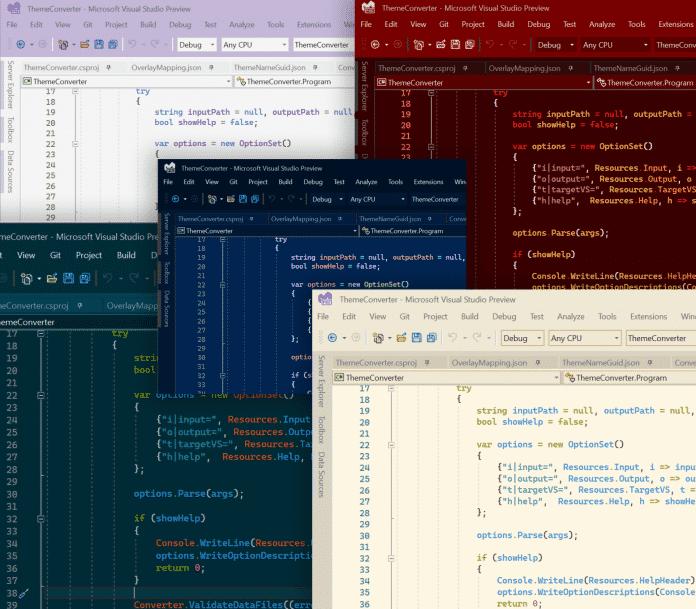 Auszug aus dem Visual Studio Theme Pack