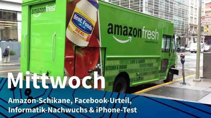 """Grüner LKW mit Aufschrift """"amazon fresh"""""""