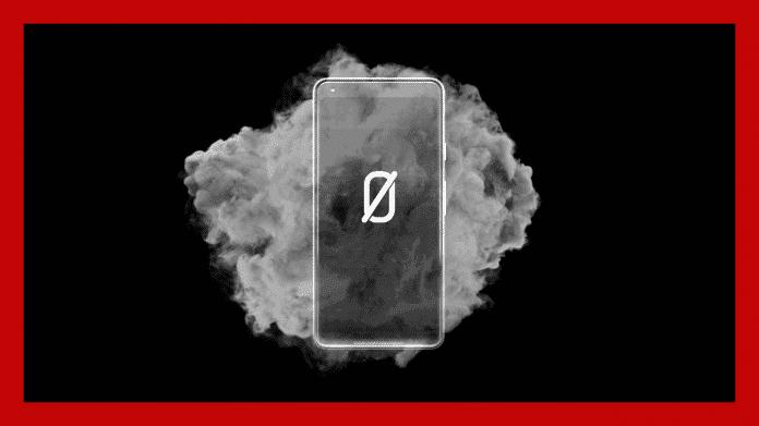 Handy mit AN0M-Logo, dahinter eine Rauchwolke, rundherum roter Rahmen
