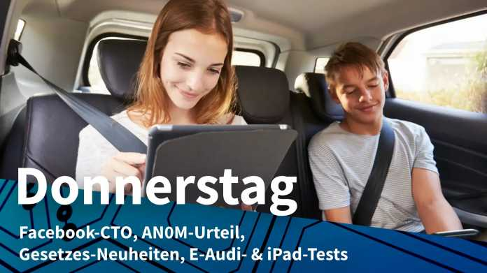 Teenager an Tablet und Handy auf Rücksitzbank