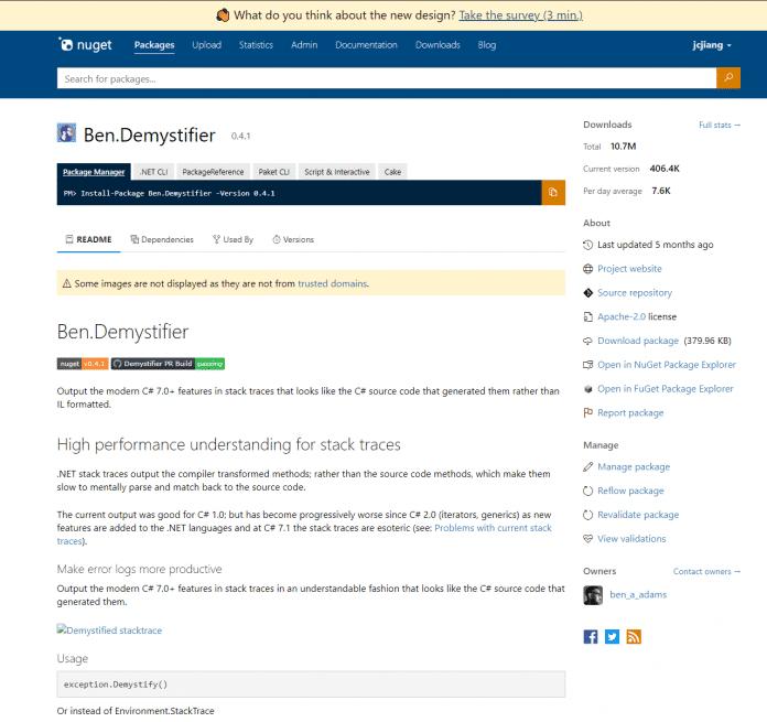 NuGet-Paketdetailseite nach dem aktuellen Redesign