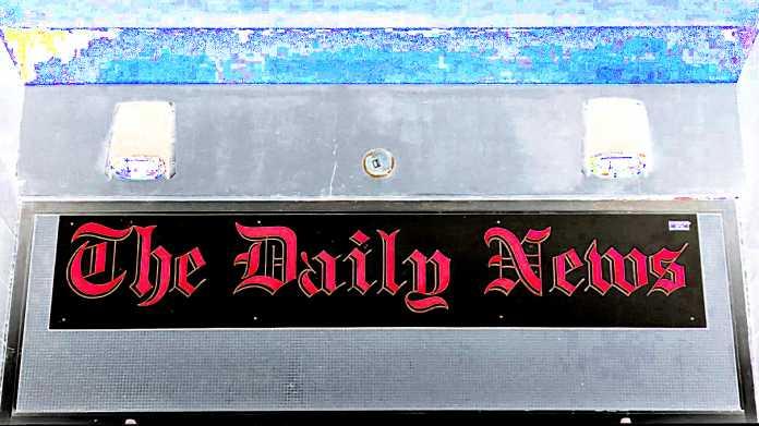 "Schild ""The Daily News"""